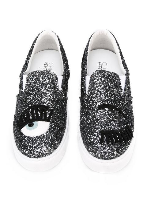 Chiara Ferragni Women's Dark Grey Glitter Flirting Wink Eye Leather Sneaker CF653