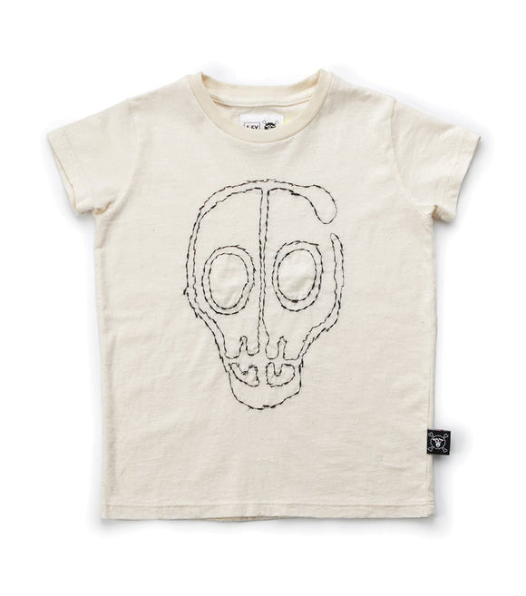 Nununu NU1702A White Embroidered Skull Mask T-shirt