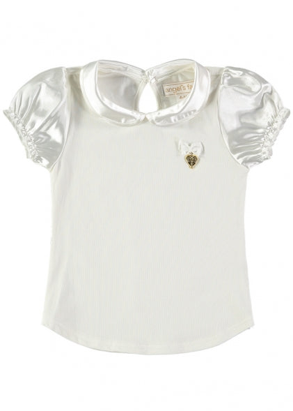 Angel's Face - Satin Short Sleeves Top White