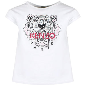 xKenzo Girls White Tiger T-Shirt KL1006801