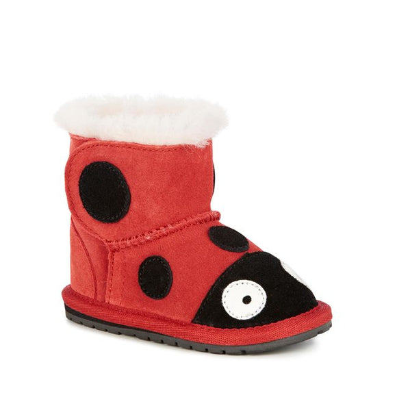 xEMU AUSTRALIA Deluxe Wool Ladybug Baby Walker Kids Winter Boots