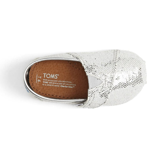 TOMS Tiny Silver Glitter Slip On Shoes