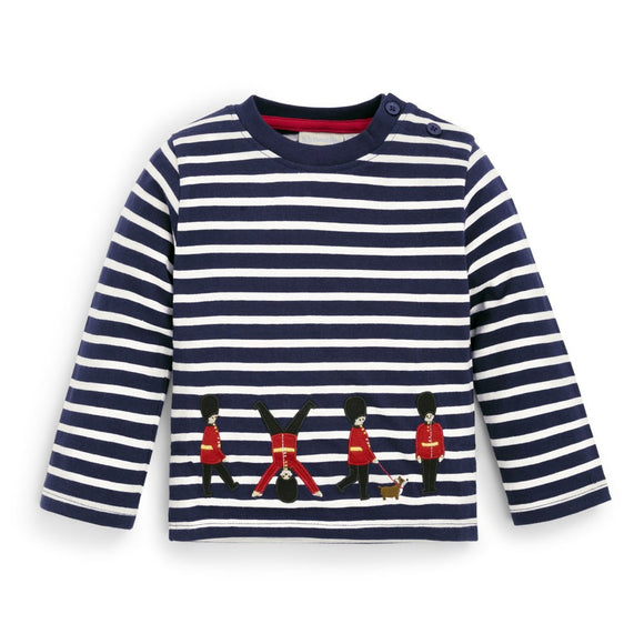 Jojo Maman Bebe - E1648 -  London Guards Top Navy Ecru Stripe