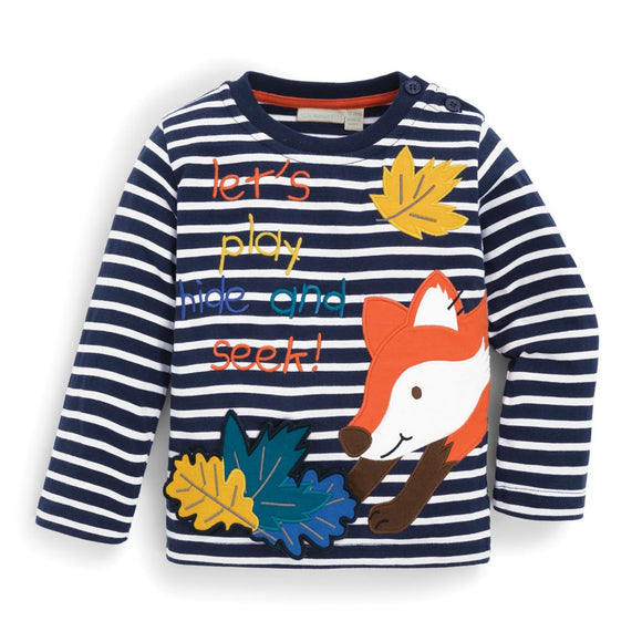 Jojo Maman Bebe E1577 Autumn Fox Top Navy Ecru Stripe