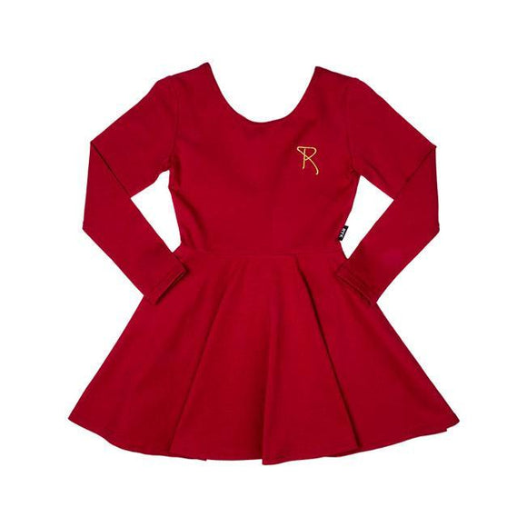 Rock Your Baby - Mabel Long Sleeve Waisted DRESS Burgundy TGD1873-B