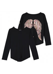 Angel's Face - Long Sleeve Slouch Wings Sequin Top Black