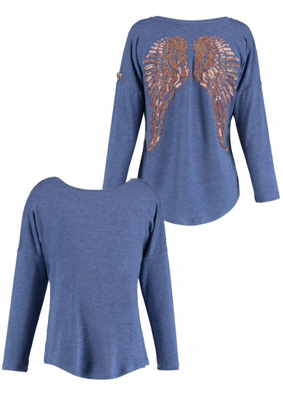 Angel's Face - Long Sleeve Slouch Wings Sequin Top Denim Blue