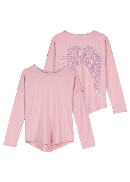 Angel's Face - Long Sleeve Slouch Wings Sequin Top Vintage Pink