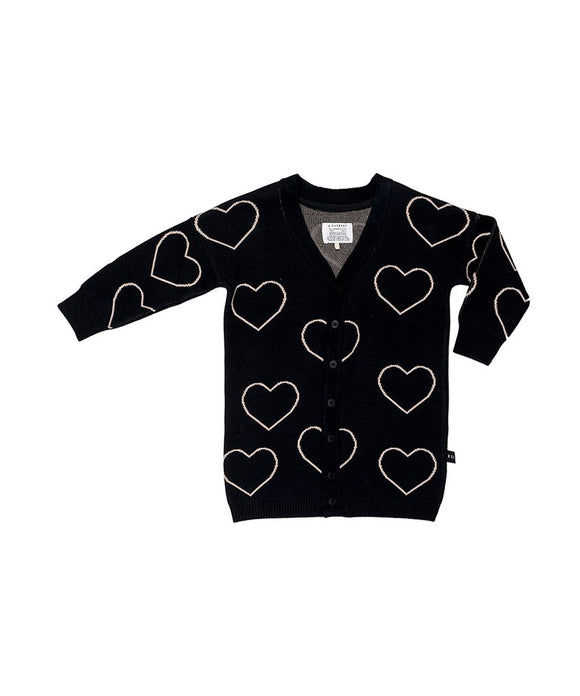 Huxbaby HB923 heart KNIT CARDI Black
