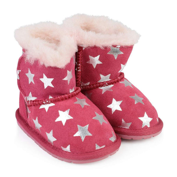 xEMU AUSTRALIA Deluxe Wool Baby Walker Kids Winter Boots in Starry Night Fuschia