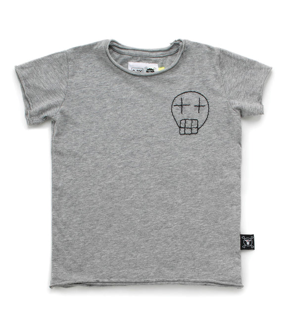 Nununu NU2831 Embroidered Sketch Skull T-shirt-Heather Grey