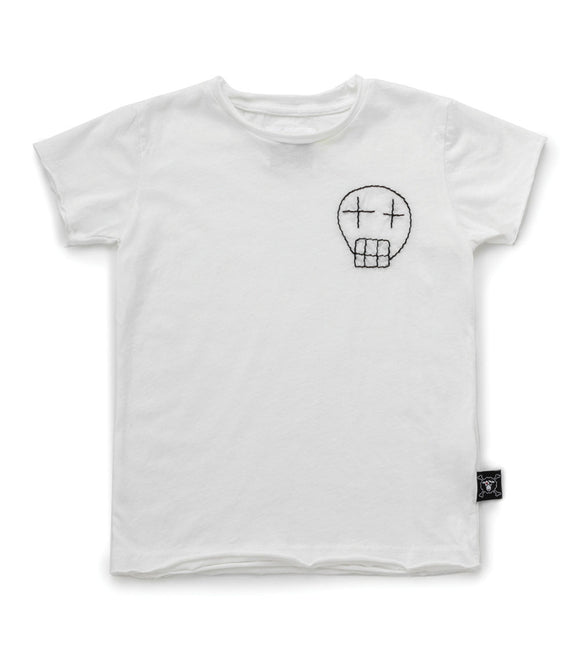 Nununu NU2831 Embroidered Sketch Skull T-shirt-White