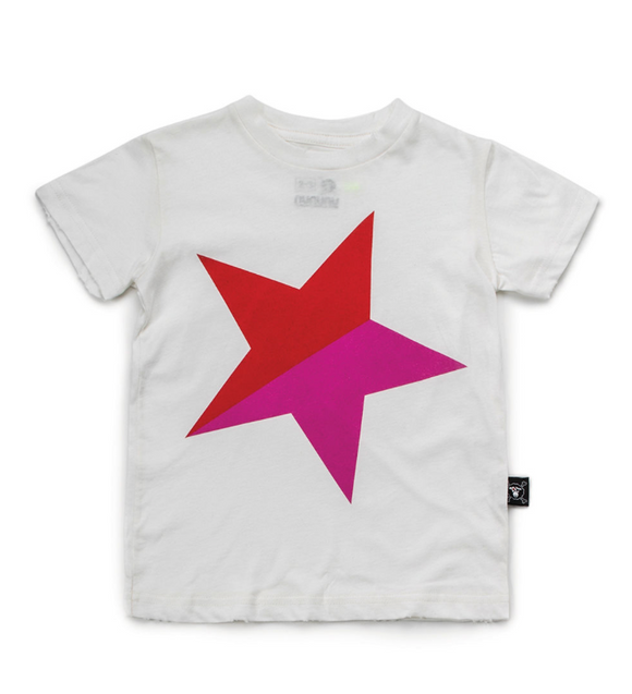 Nununu NU2833 Colorful STAR T-shirt in White/Red
