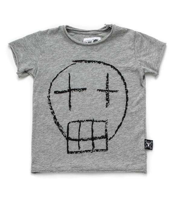 Nununu NU2824 Sketch Skull T-shirt Heather Grey