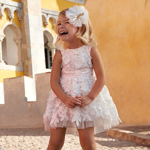 Mayoral 3907 Embossed tulle flowers dress for girl