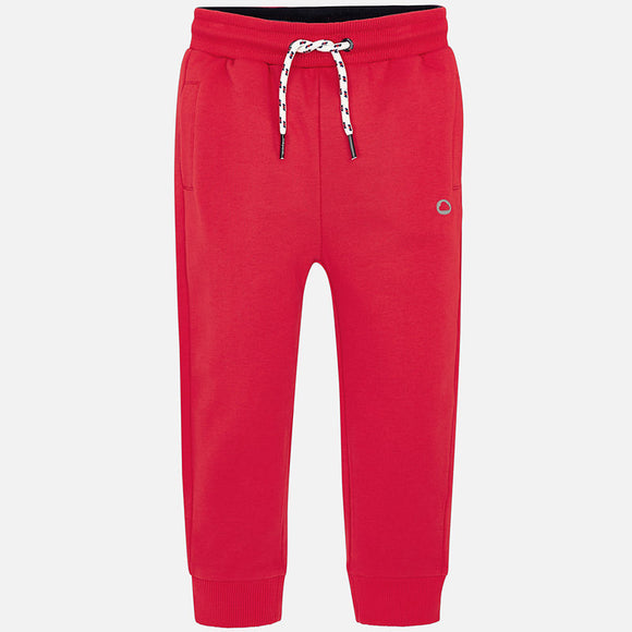 mayoral - 742 Basic cuffed fleece trousers red
