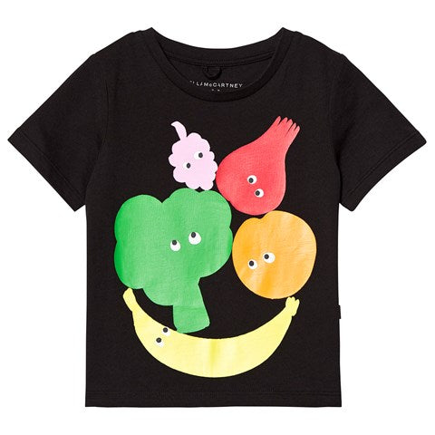 xSTELLA McCARTNEY-Kids Girl VEGand Fruit SS Tee Early 539241 smjb5 1073 Black