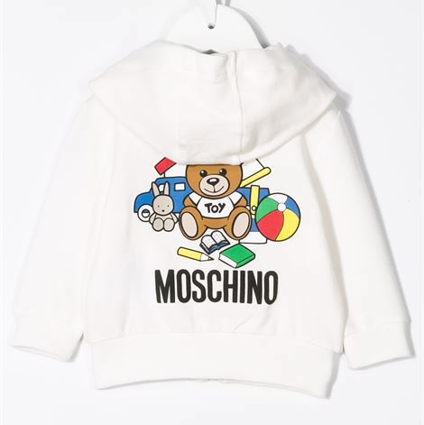 xMoschino MPF00Q Baby LS Hooded Sweatshirt  With Toy Bear on Back 10063 White