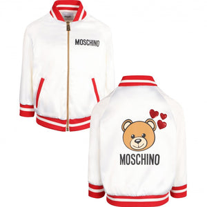 Moschino Girls Satin Bomber Toy Bear Graphic Jacket White