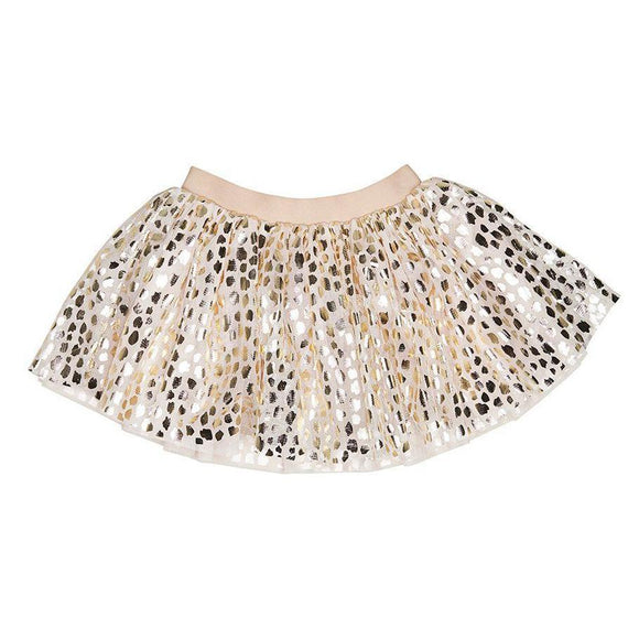 Huxbaby HB1053 Gold Leopard tulle skirt