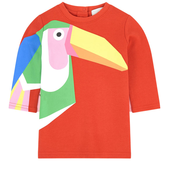STELLA McCARTNEY-Baby Girl LS Toucan Sweatshirt Dress 540020 SMJ75 Red