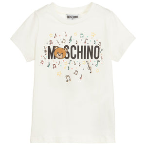 xMoschino - HQM01I Kids Short Sleeve T-Shirt With Music Toy Bear 10063 Cloud