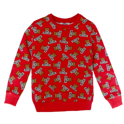 Moschino Allover Music Toy Bear Sweatshirt in Red