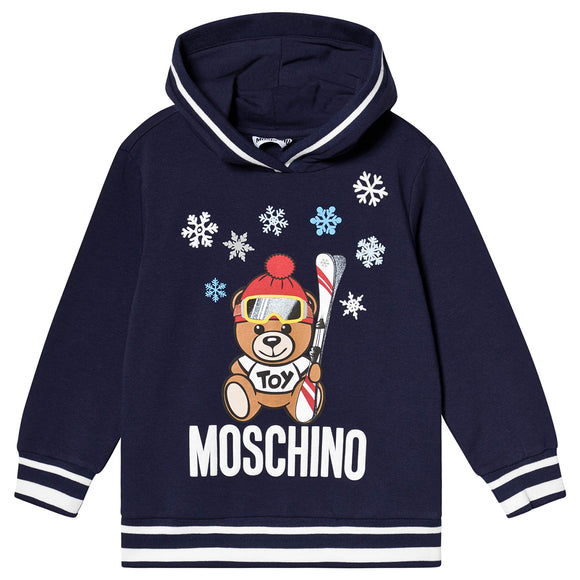 xMoschino Kids Hooded Sweatshirt With Ski Toy Bear in Navy HUF032 40016