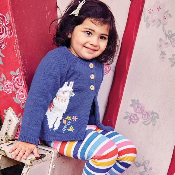 Jojo Maman Bebe E4504 2-Pack Girls' Multi Color Stripe & Denim Leggings