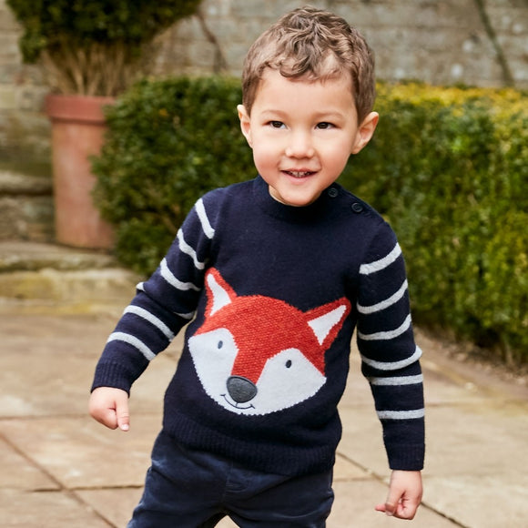 Jojo Maman Bebe E1348 Boys' Navy Fox Sweater