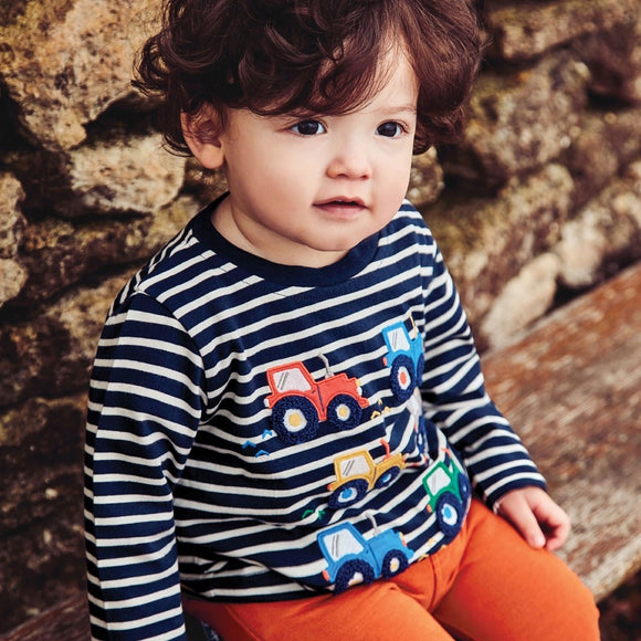 Jojo Maman Bebe E4679 Tractor Appliqué Striped Top