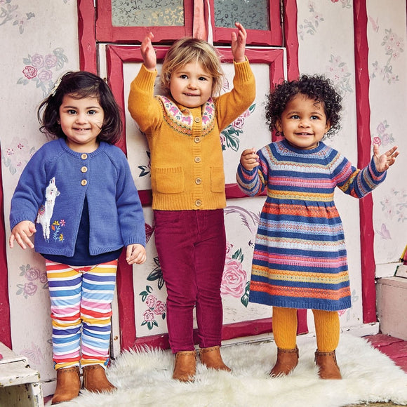 Jojo Maman Bebe E4484 Girls' Indigo Fair Isle Stripe Dress
