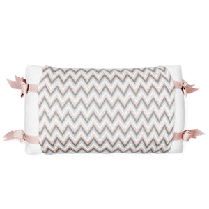 Rian Tricot Pillow Crib APRON Soft Pink/Grey
