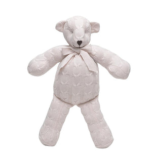 Rian Tricot Plush CABLE KNIT TEDDY BEAR Soft Pink