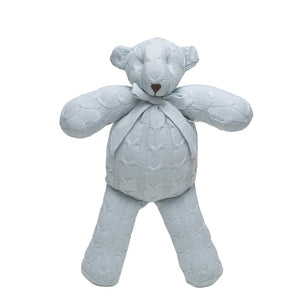 Rian Tricot Plush CABLE KNIT TEDDY BEAR Blue