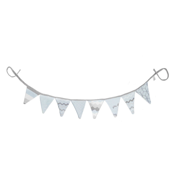 Rian Tricot Crib Side Garland BUNTING Light Blue