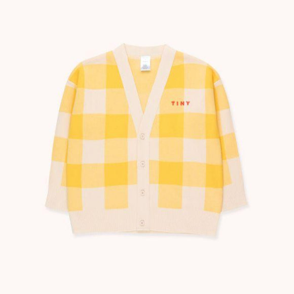 TINYCOTTONS BIG CHECK CARDIGAN in light cream/yellow 224