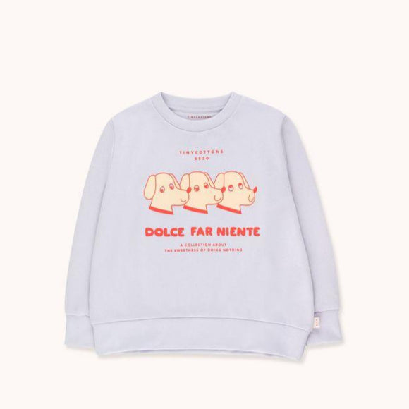"TINYCOTTONS ""DFN DOGS"" SWEATSHIRT in light lilac/red 116"