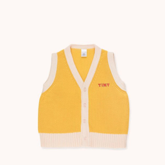 "TINYCOTTONS '""TINY"" VEST in yellow/light cream 236"