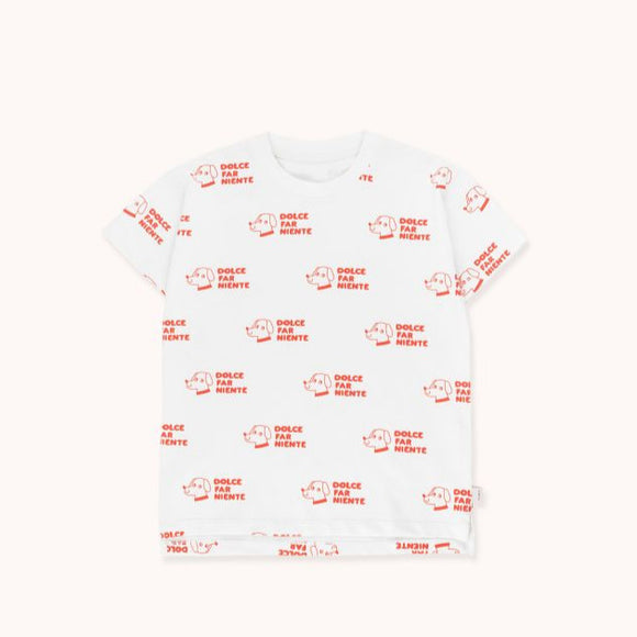 TINYCOTTONS DOGS TEE in off-white/red 002