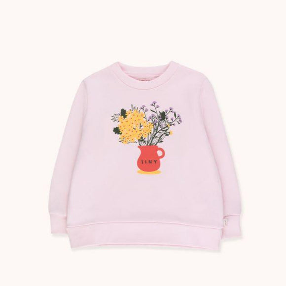 "TINYCOTTONS ""TINY FLOWERS"" SWEATSHIRT in light pink/yellow 123"
