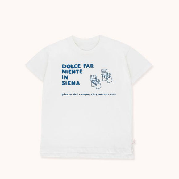 "TINYCOTTONS ""DFN IN SIENA"" TEE in off-white/summer navy 041"