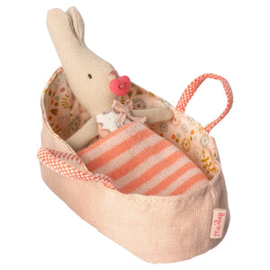 Maileg My Rabbit in Rose Carry Cot