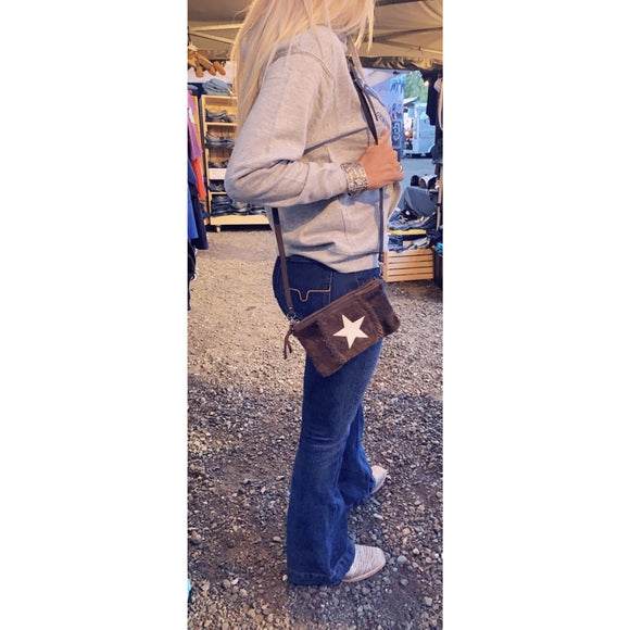 Leather Star Over The Shoulder Purse