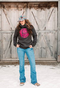 KCD Womens Funnel Hoodie - Philly - Pink/Grey