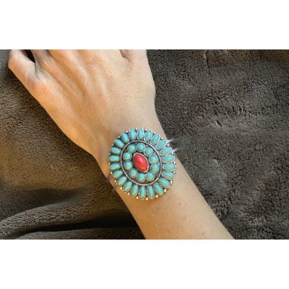 Turquoise/Red Circle Bracelet