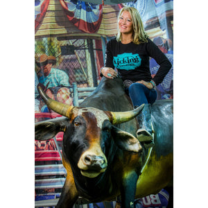 KCD Womens Long Sleeve - Buckle - Black/Turquoise