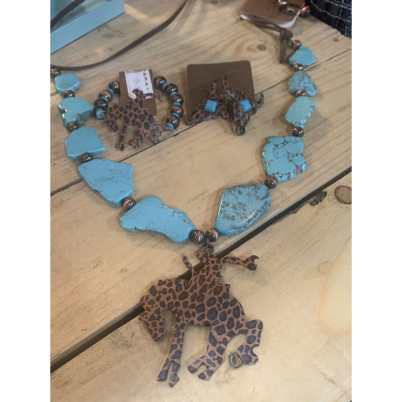 Leopard Steer Head with Turquoise Earrings