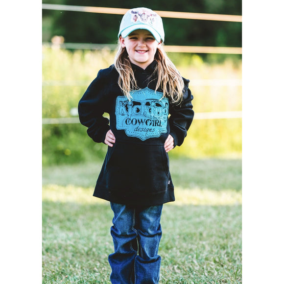 KCD Girls Hoodie Buckle Logo - Black/Teal