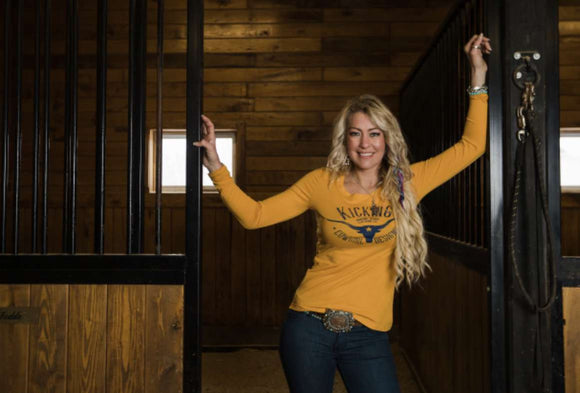 KCD Womens Long Sleeve - Longhorn - Mustard Yellow